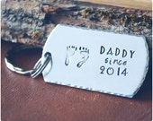 Daddy Since Keychain - Customized Hand Stamped Daddy Key Chain - New Dad Dog Tag Gift - Military Dad Key Ring