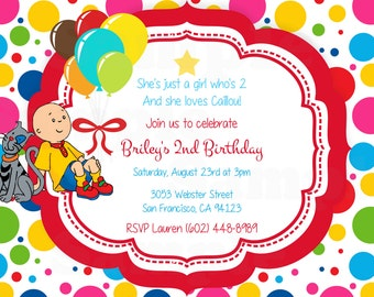 Caillou Theme Inspired Digital Invitation, Favor Tags in Red or Pink /Cupcake Topper