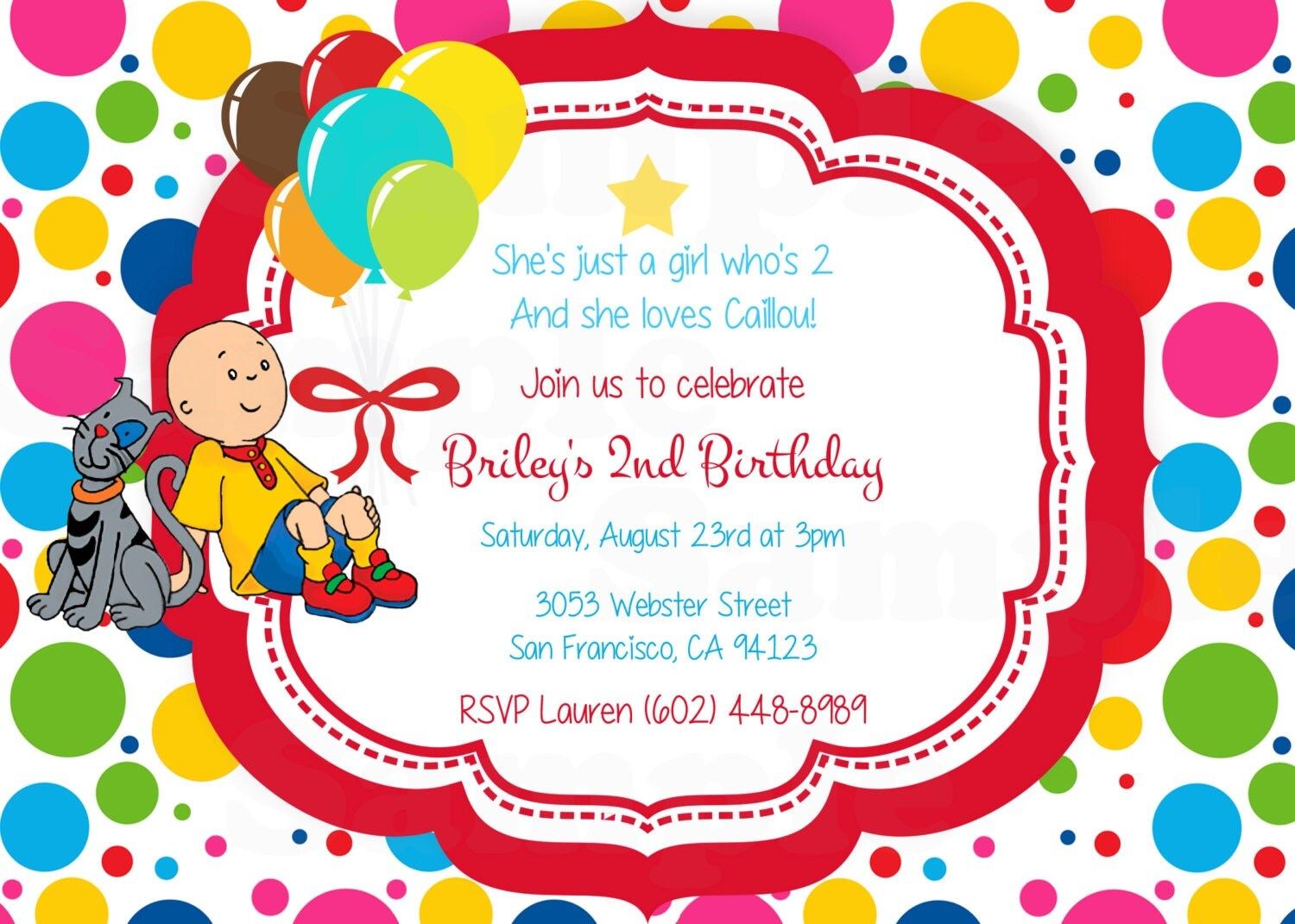 Caillou Theme Inspired Digital Invitation Favor Tags in Red