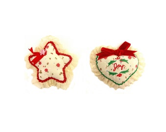 House Of Hattan Embroidered And Stuffed Fabric Christmas Tree Ornaments - Set of 2 - Heart And Star