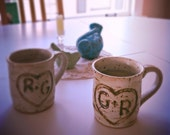 Hand carved personalized coffee mugs wedding gift