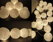Battery Powered LED Bulbs 20 Big White Color Handmade Cotton Balls Fairy String Lights Party Patio Wedding Floor Hanging Gift Home Decor 4m.