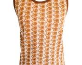 Vintage 70s novelty snail print deadstock Hanes woven knit tank top, cream / mustard / brown, never worn, XS / S