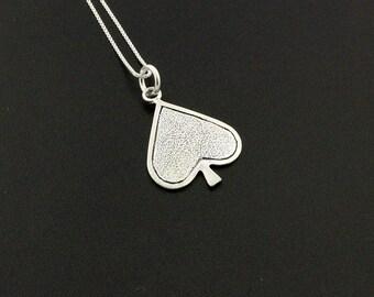 Spades symbol Necklace sterling silver Spades symbol Pendant charm with 925 Sterling Silver Chain (N-08)