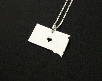 South Dakota necklace sterling silver South Dakota state necklace with heart comes with Box style chain