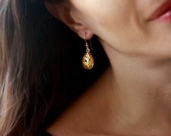 Drop earrings, gold earring, dangle earring, bridal jewelry