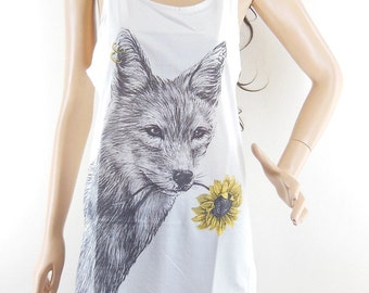 Dog Flower T Shirt Wolf Shirt Wolf Tank Top Dog Tank Top Women Tshirt Sleeveless Shirt Size M