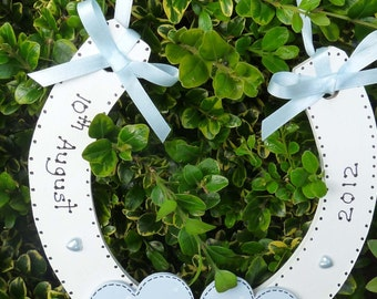 Wooden Horseshoe with ribbon and hearts perfect for Wedding gift