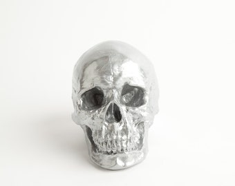 The X-LARGE Nedwhin - Extra Large Silver Faux Human Head - Resin Skeleton - Sugar Skull Like - Halloween Decor - Chic Halloween Skull Head