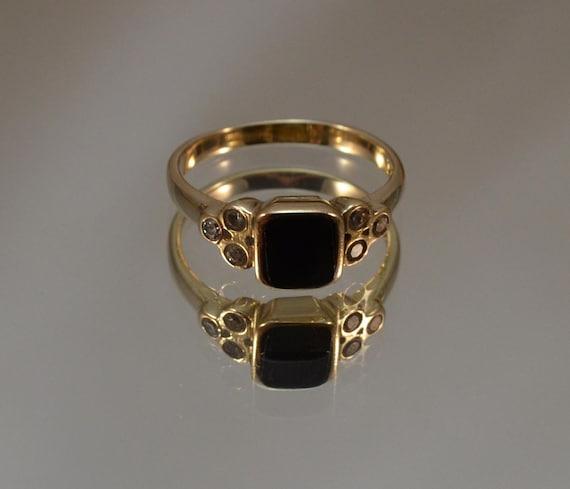 black stone gold ring - photo #9