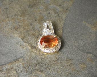 14K gold Two-Tone Oregon  Sunstone, diamond Pendant P118