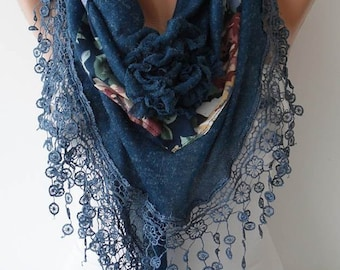 Navy Blue Scarf Rose Scarf Gift Scarf Lace Edge Fall Winter Scarf Gifts for Women Christmas Gift For Her Scarf Fall Winter Cyber Monday