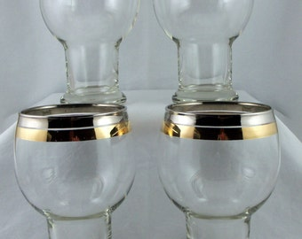Set of 4 Gold and Silver Band Beer Schooners Glasses 24 oz