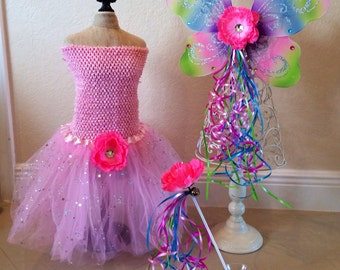 Pink Fairy Costune, Pink Fairy Wings, Rainbow Fairy Wings, Pink Tutu, Rainbow Dress, Rainbow Tutu, Thinkerbell Wings, Tinkerbell Costume
