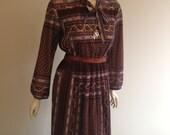 1970s Boho Dress Size 12-14 M-L