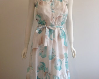 Norman Hartnell Floral Summer Dress Size 10 - 12