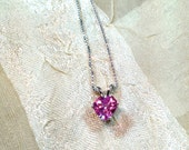 Pink Sapphire Heart Necklace Handmade Jewelry for Your Best Girl