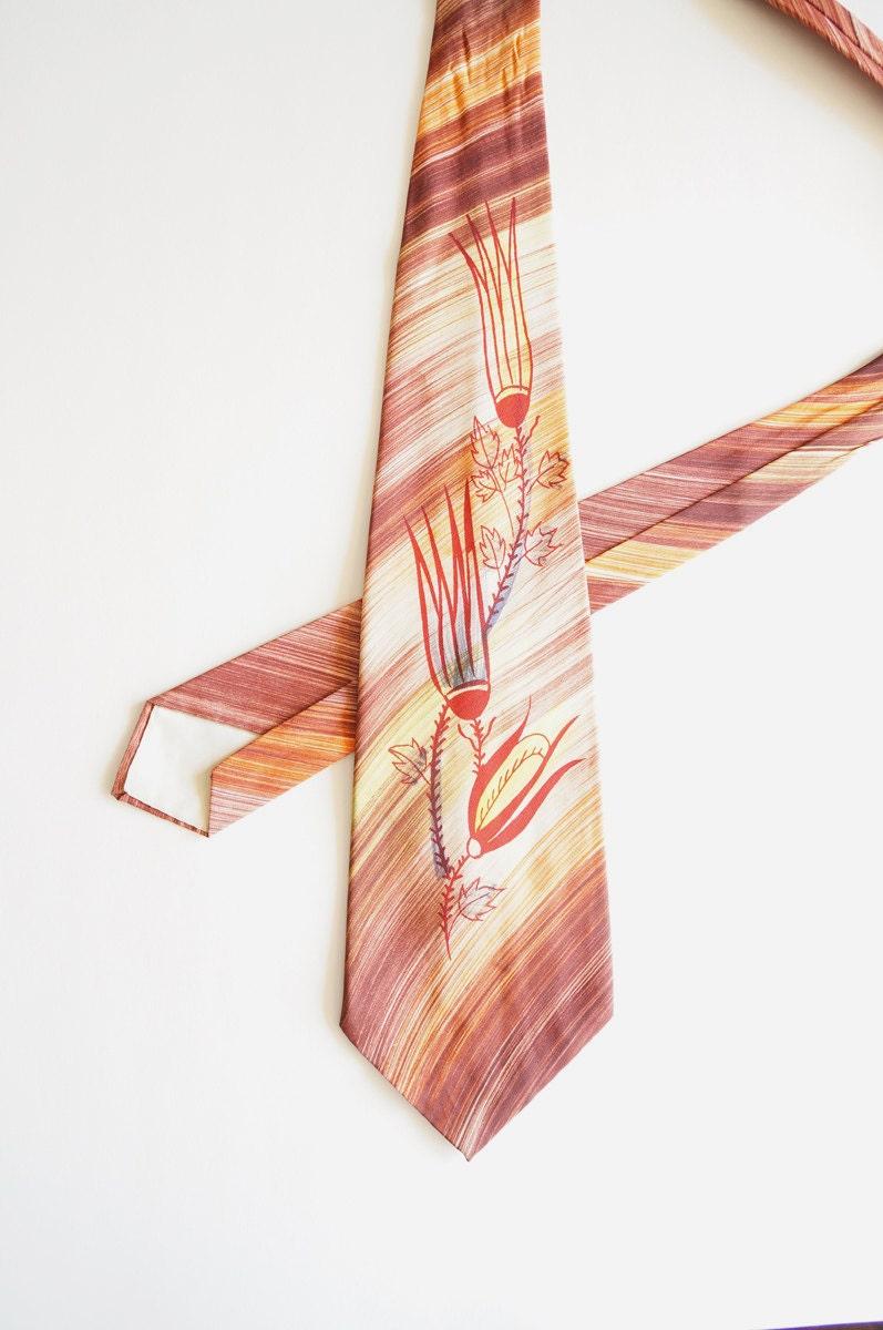 vintage lot of 3 mens ties necktie tie painted silk