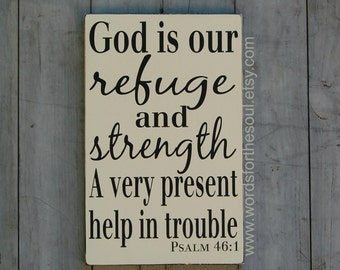 Psalm 46:1 - Bible Verse Wall Art - Rustic Wood Signs - Scripture Sign - Christian Wall Art - God Is my Refuge - Wall Decor - wooden signs