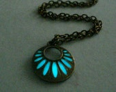 Carved Round Necklace Glow In The Dark Necklace Glow In The Dark Jewelry Antique Bronze And White (glows aqua blue)