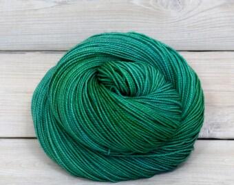 Celeste - Hand Dyed Superwash Merino Fingering Sock Yarn - Colorway: Viridian