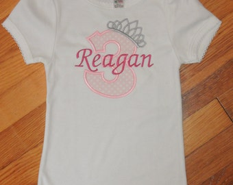 Personalized Girl's Birthday Tiara Princess Tshirt Tutu Set  3rd, 4th, 5th