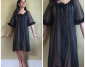 Vintage 50s Black Lace Nightie