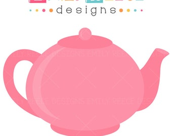 Pink Teapot Clip Art teapot tea time 1 dollar cute commercial use ...