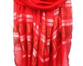 Red Scarf. Red Shawl. Sparkling Shawl. Embroidered Viscose Shawl. Scarlet Red Scarf Glam Scarf. Metallic Scarf 20x70in (50x180cm) Ready2Ship
