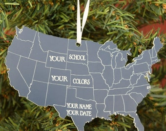 State Shape Ornament 50 States Christmas Ornament State Christmas Ornament USA Christmas Ornament