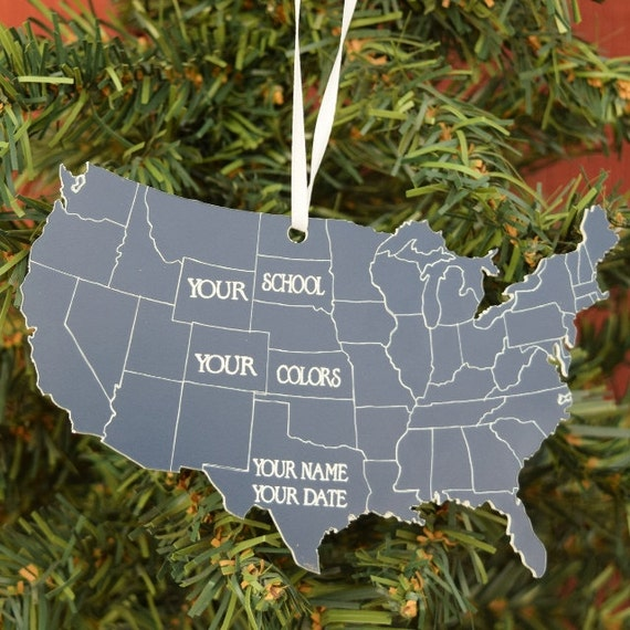 State Shape Ornament 50 States Christmas Ornament State
