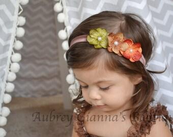 Baby Headband, Fall flowers Headband, Thanksgiving headband, newborn photo prop, infant headband, First thanksgiving, baby accessories