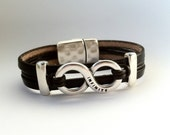 Mens infinity leather bracelet, valentins day, mens jewelry, womens bracelet. Unisex bracelet . Personalized bracelet