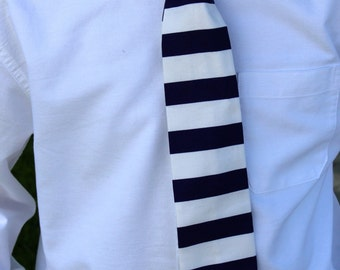 Nautical Navy Blue and White Horizontal Striped Tie  in Newborn to boys size 10  by GreenStyle