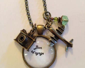 Bon Voyage Travel Necklace with Camera Charm and Airplane Charm