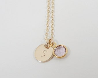 Tiny Gold Filled Initial Necklace with Swarovski Birthstone - Dainty - Hand Stamped Gold Filled Jewelry - Birthstone Necklace