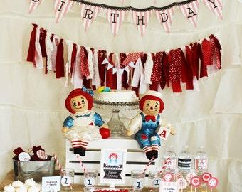Raggedy Ann Printable Birthday Party Set
