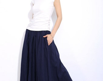 Blue Maxi Skirt - Linen Long Pleated Simple Casual Woman's Skirt Plus Sizes Women's Handmade Clothing C330