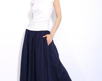 Navy Blue  linen casual skirt C330