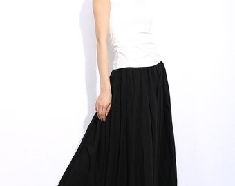 Black Linen Skirt - Maxi Long Casual Everyday Comfortable Full Woman's Skirt  C331