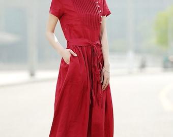 Dress, red dress, linen dress, casual dress, summer dress, maxi dress, long dress, womens dresses, pleated dress, dress pockets C345