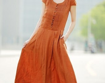 Linen Dress with Belt in Orange (C346)