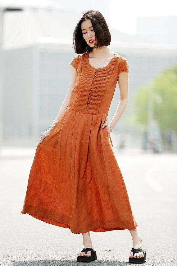 linen dress with belt in orange c346