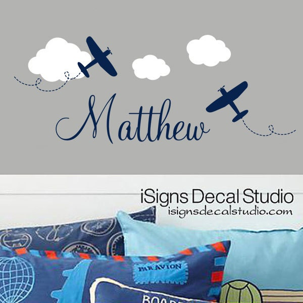 Airplane Wall Decal Custom Name Decal Airplane Name Decal