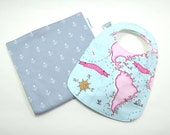 Baby bib and burp cloth set / World Map Baby / anchor / gift set / 100% cotton / fits 3 months to 2 years plus