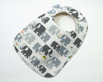 Organic baby bib, Elephant baby, Organic cotton and bamboo fleece, Gender neutral baby, fits 3 months to 2 years plus