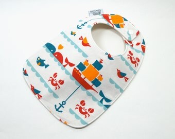 Organic baby bib, Baby Bib, Organic cotton fleece, GOTS, sailing, Nautical baby, whales, boats, crabs, fish, fits 3 months to 2 years plus