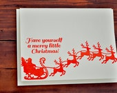 Have yourself a merry little Christmas letterpress card , santa and reindeer , letterpress sleigh , red