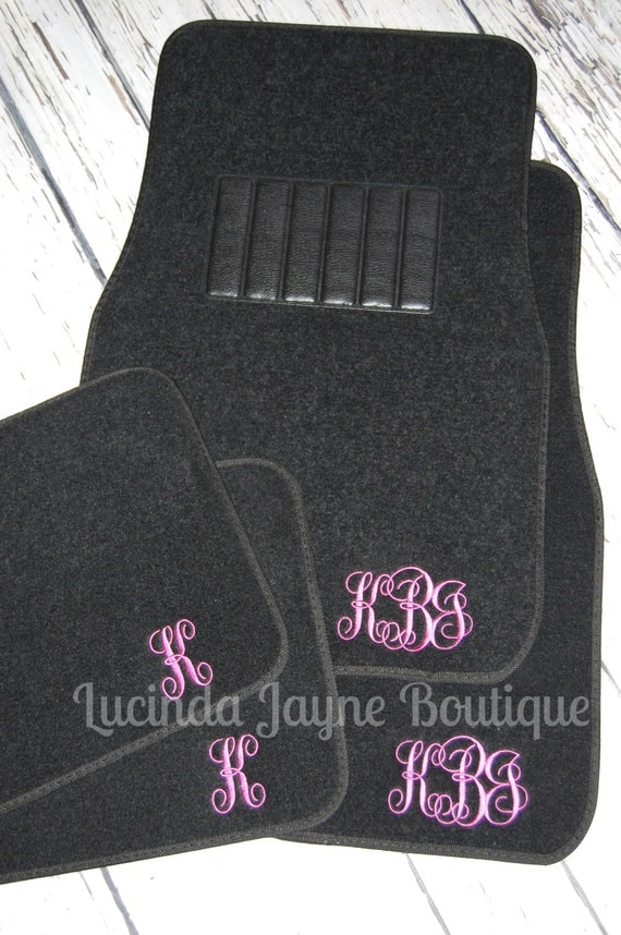 monogrammed black car floor mats