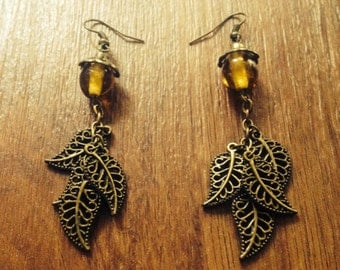 Antiqued Brass Yellow Glass Earrings